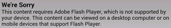 Sorry Flash not supported message
